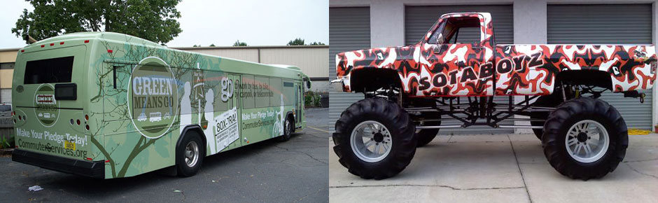 bus and pickup truck wraps